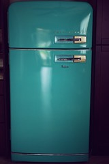 "My New Old Westinghouse ""Food File"" Refridgerator (Megan Dendinger) Tags: westinghouse vintage fridge refrigerator 1954 pyrex teal retro old food file frost free hello kitty mab graves christmas present kitchen kitsch kitschy turquoise aqua gingerbread house home cute restoration renovation"
