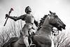 Joan of Arc and Roses. Meridian Hill Park, Washington, D.C. (Jan. 2017) (Thomas Cluderay) Tags: joanofarc dc statute roses blackandwhite photography urban city memorial district washingtondc washingtonian meridianhillpark daybreak winter