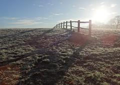 Fence (ART NAHPRO) Tags: post rail fence field sunrise sun frost rise january 2017