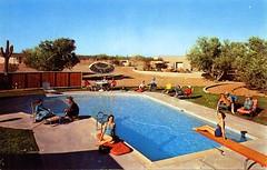 White Stallion Ranch swimming pool Tucson AZ (Edge and corner wear) Tags: vintage postcard pc tucson arizona az swimming pool party people guest ranch desert saguaro cactus
