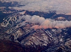 Cruising Altitude Over Vail Mountain and Valley (Ginger H Robinson) Tags: cruisingaltitude vailmountain skiruns vailvalley flyingwestward i70corridor sunset dusk pinkclouds