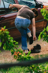 CHANGING SHOES-16 (leremita) Tags: socks black sneakers jeans ass women barefeet sole dirty sweaty smelly stinking