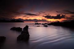 Oakura Bay Northland NZ (angus clyne) Tags: bay northland nz new zealand ocean pacific sea warm dawn sunrise oakura sand ripple wave calm red purple horizon swim rock beach east seascape