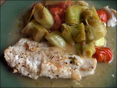 Cod with Leeks and Tomatoes (Yes Becky) Tags: home recipe 2006 recipes homecooking cod
