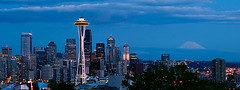 seattle panorama (wildpianist) Tags: seattle longexposure blue urban panorama tower skyline night clouds canon 100v eos 50mm washington 14 panoramic 10d mountrainier rainier pacificnorthwest spaceneedle pugetsound kerrypark mtrainier ef seattlecenter downtownseattle 50v christarnawski