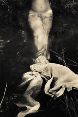 mermaid (Christina.Poindexter) Tags: woman water girl contrast dark tail glowing cloth mermaid murky