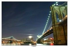 One Moon, two Bridges and hundreds of lights (Arnold Pouteau's) Tags: nyc newyorkcity bridge moon newyork brooklyn night river manhattan