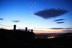 (tmod) Tags: city sunset grass clouds fence newfoundland lights stjohns signalhill eastend softballfield cabottower