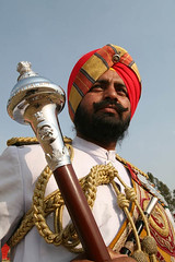 Soldier of Sikh Regiment's Band in Ceremonial Dress, Indian Army (Captain Suresh Sharma) Tags: india beard soldier uniform dress military pride brave turban sikh punjab baton conductor punjabi saffron medals decorated khalsa unifrom panjabi battalion ceremonial attire indianarmy panjab bandconductor 5thbattalion