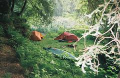 Kickapoo campsite (mike.palic) Tags: old camping trees wisconsin fire town tents flash canoe northface bushes rei msr merrell kickapoo