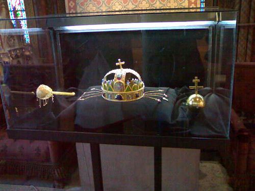 Sceptre, orb, and Crown of St. Stephen