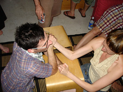 Janice lets Josh win (Jimmy Legs) Tags: birthday party sunsetpark armwrestling sirenfest joshbernstein moochers