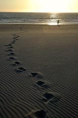 Moledo beach (3) (trazmumbalde) Tags: ocean sunset sea praia beach portugal sand europe footprints kitsch silhouete atlantic textures clich loneley moledo challengeyouwinner
