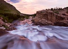 The Swiftcurrent at sunset - Glacier National Park (mega mark) Tags: longexposure sunset nature tag3 taggedout canon river nationalpark montana tag2 tag1 mark glaciernationalpark goff gnp manyglacier 88points megamark markgoffphotography markgoffimages