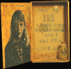 the beekeeper (sparkleface) Tags: ariel poetry assemblage mixedmedia bee tragedy foundobject cigarbox sylviaplath beeswax sparkleface