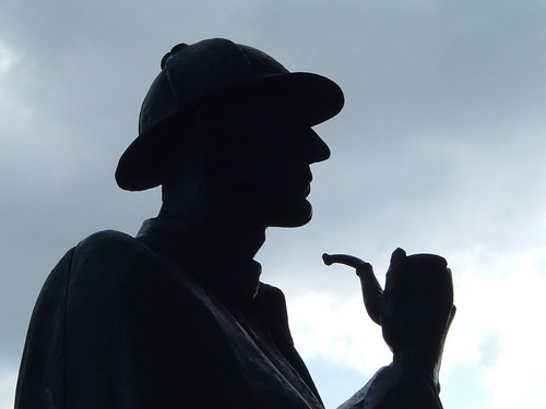 Sherlock Holmes outside Baker Street underground station