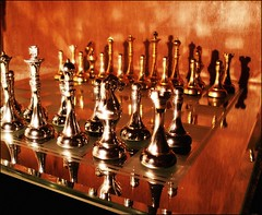 Your Move (Durotriges) Tags: stilllife game colour topf25 metal mirror king pieces board chess queen knight rook bishop pawn yourmove beammeuputata artlibre