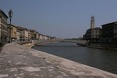 The river Arno, flowing quietly through Pisa
