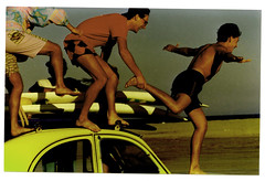 endless summer (rougerouge) Tags: friends beach car yellow fly surf scan memory 2cv oldshot