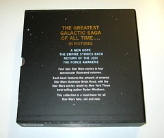 star wars in pictures 4 book box set ryder windham and brian rood disney 2016 b slipcase back (tjparkside) Tags: star wars pictures 4 book box set 2016 disney lucasfilm isbn 9781760128456 episode four five six seven iv v vi vii 5 6 7 anh new hope empire strikes back tesb esb rotj return jedi force awakens tie fighter fighters millennium falcon rey jakku scavenger bb 8 bb8 droid luke skywalker sail barge tatooine darth vader bespin outfit cloud city x wing xwing pilot illustrator brian rood author ryder windham