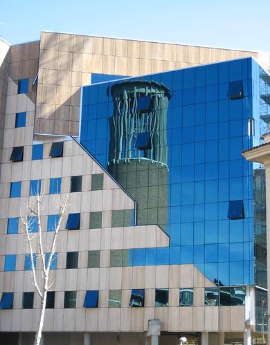 steeple reflected