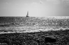 A sailboat on the horizon (I) (Gonzalo Castn) Tags: ocean sea blackandwhite espaa blancoynegro sailboat mar andaluca spain barco ship almera cabodegata velero ocano nikond5100