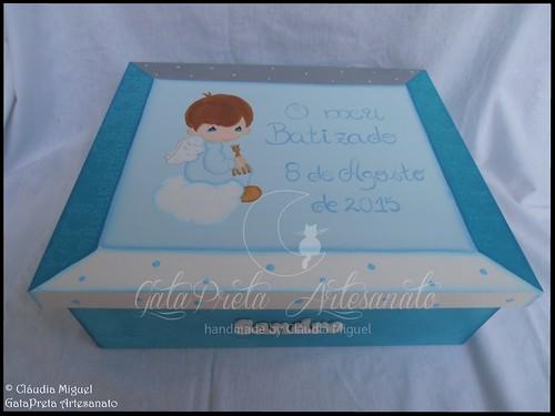 """Caixa grande de batizado """"Turquoise Angel"""""""