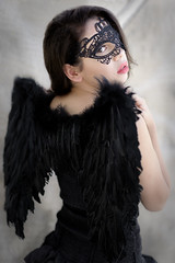 (Mr. Muggles) Tags: portrait black girl angel costume wings mask natural ambientlight