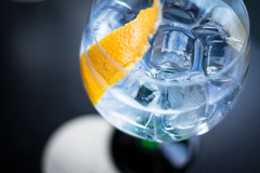 Gin & Tonic (noeltock) Tags: blue orange ice rind dof sofia indoor bulgaria shallow peel gin tonic hendricks gintonic