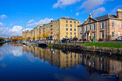 Speirs Wharf Glasgow 29 Oct 2015-0034a.jpg (JamesPDeans.co.uk) Tags: landscape ships old buildings boats weather canals blue sky sun masts scotland architecture history forth clyde canal chimneys united kingdom europe glasgow forthandclydecanal oldbuildings unitedkingdom bluesky reflection