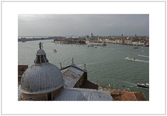 Views from the Bell Tower (Pictures from the Ghost Garden) Tags: venice urban seascape color colour water architecture buildings landscape boats nikon 28mm canals maggiore dslr voigtländer urbanlandscape sangiorgiomaggiore colorskopar d7100 veneziaisoladisangiorgio