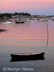 Pink Glow-Sunset in Southwest Harbor-Maine (moelynphotos) Tags: sunset reflection landscape boats nationalpark glow maine coastal rowboat ripples motorboats pinksunset acadia southwestharbor acadianationalpark atlanticcoast calmwater pleasureboats moelynphotos