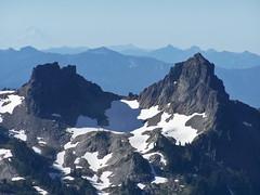 Castle Peak and Pinnacle Peak (maritimeorca) Tags: cascaderange castlepeak mountrainiernationalpark panoramapoint pinnaclepeak tatooshrange