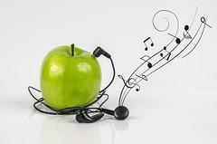 Ipod? (LadyMakbeth) Tags: apple ipod onwhite green music stilllife noshadow nature