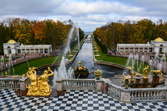 Landscape of Peterhof in St Petersburg, Russia (phuong.sg@gmail.com) Tags: ancient antique architecture art baroque beautiful bright cascade classical culture decor decoration design drops famous figure fountain garden god gold golden grand hero heroic historic landmark magnificent monument museum mythological olympus palace park petergof peterhof petrodvorets roman russia russian saintpetersburg sculpture stpetersburg statue summer water