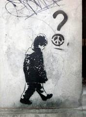 Wall (Quetzalcoatl002) Tags: boy walking graffity wall questionmark bw graffiti graffityart black paint kid