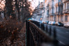 divide (ewitsoe) Tags: hff fence friday sunrise ewitsoe park nikon d80 35mm street urban city poznan poland fenced iron wrought winter cold chilly dawn buildings blur