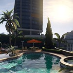 GTAV - 1920x1080 Panoramic 16:9 Widescreen Wallpaper - Micheal Poolside (Day) by The Game Tips And More Blog (GTAV Logo) thumbnail