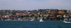 Sydney Harbour (Mary (No Group Invites Please)) Tags: australia newsouthwales harbour yacht houses red roofs sky blue panamora panasonic dmc fx77