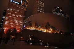 City Lights (katie.hannaa) Tags: cloudgate buildings nighttime night citylights city thebean chicagoil downtown downtownchicago chicago