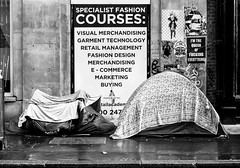 The Queen of Everything (stevedexteruk) Tags: homeless poverty tent camping sleeping rough 2017 london fitzrovia uk endless street art poster grafiti queen fashion college courses