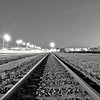 Railroad at night. (Giel Pieter) Tags: rotjeknor rotterdam portofrotterdam railroad tunnelvision night bw panasoniclumixgx7 highway lights
