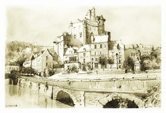 Estaing - Occitanie - France (guymoll) Tags: estaing france croquis sketch bic crayon pencil pont chemindesaintjacques saintjacques pèlerins sépia chateau castle occitanie