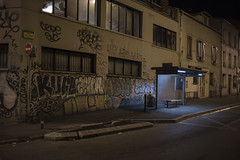. (Le Cercle Rouge) Tags: bagnolet france portedemontreuil ruejulesferry bus stop nighr darkness light graff graffitis painters tags
