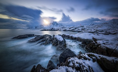 Poor Man's Lighthouse (hpd-fotografy) Tags: arctic flakstadøya lofoten norway bluehour coast cold crashing island longexposure seascape shore snow stones storm sunset ultrawide water waves winter