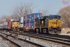 A little action at 71st street (ilvchevs) Tags: train trains railraod track switch locomitives ge up csx containers freight