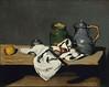1867-1869 (françoischédeville) Tags: fruits t peinture t2 naturemorte oeufs serviette couteau bouilloire sucrier potvernissé pomme1 meubleàétagère peinturetoile