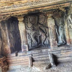 "#aihole #hindu #architecture #art #chalukya #rockcut #temple | #india #IN #worldcommuter #travel | The first true gem of Chalukyan architecture is rock-cut temple devoted to Shiva. Ravana Phadi temple is built circa 550 AD and is one of the oldest structu (""guerrilla"" strategy) Tags: travel outcrop india art true architecture t temple one is carved sandstone ad structures first been well preserved shiva circa hindu has oldest built gem devoted chalukya 