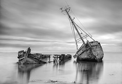 Wrecks (petefoto) Tags: clouds reflections boats suffolk wrecks riverorwell pinmill leefilters bwfilters nikond810