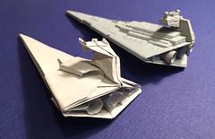 Star Destroyer origami real-angled version with main engines. (Matayado-titi) Tags: starwars origami space destroyer spaceship starship stardestroyer sugamata matayado